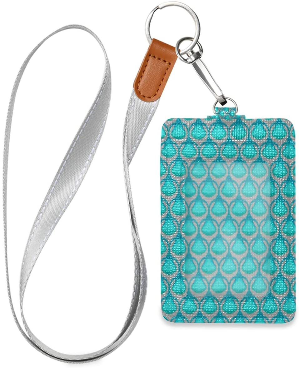 Vertical Id Badge Holders Leather with Lanyard for Women, Men, Credit Card Holder, Work Id, School Id, Office Id, Driver Licence, Metro Card, Access Card Turquoise Blue Tones