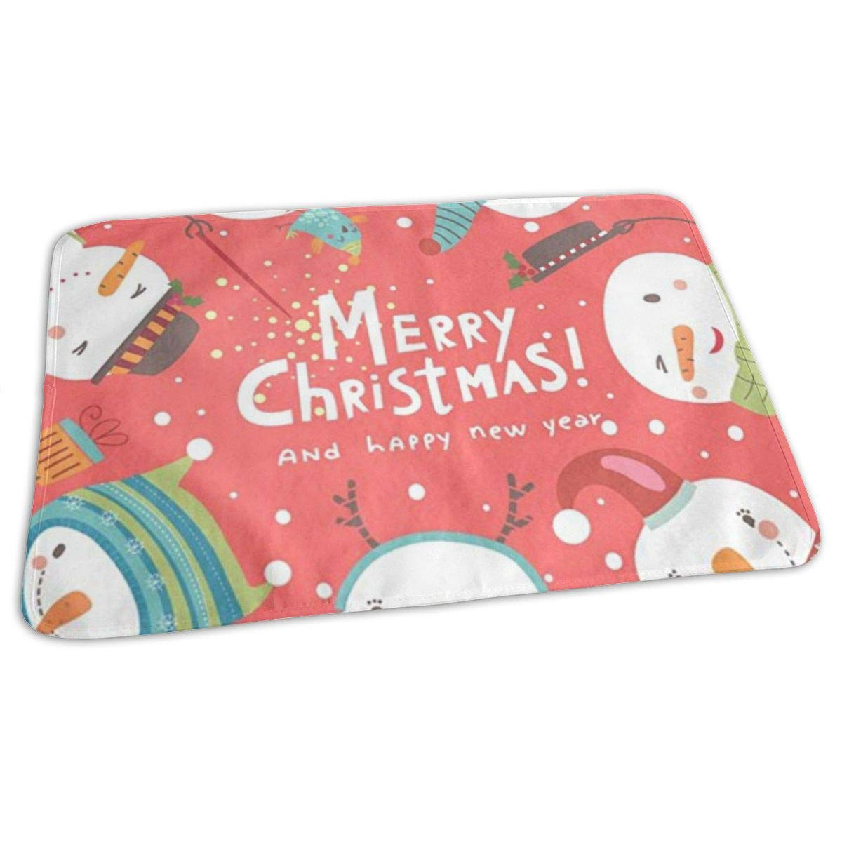 ZZguowuque Portable Changing Pad -Reusable Waterproof Baby Changing Pad(9.457.09 Inch) Christmas Snowmen