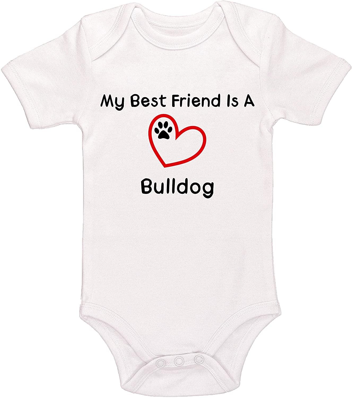 Kinacle My Best Friend is A Bulldog Baby Bodysuit