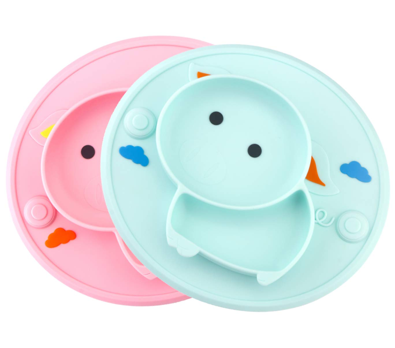 Baby Silicone Plate Suction Toddler Plates Mini Plate Placemat for Kids and Infants Self Feeding One-Piece Strong Suction BPA Free, Microwave & Dishwasher Safe (Green/Pink)