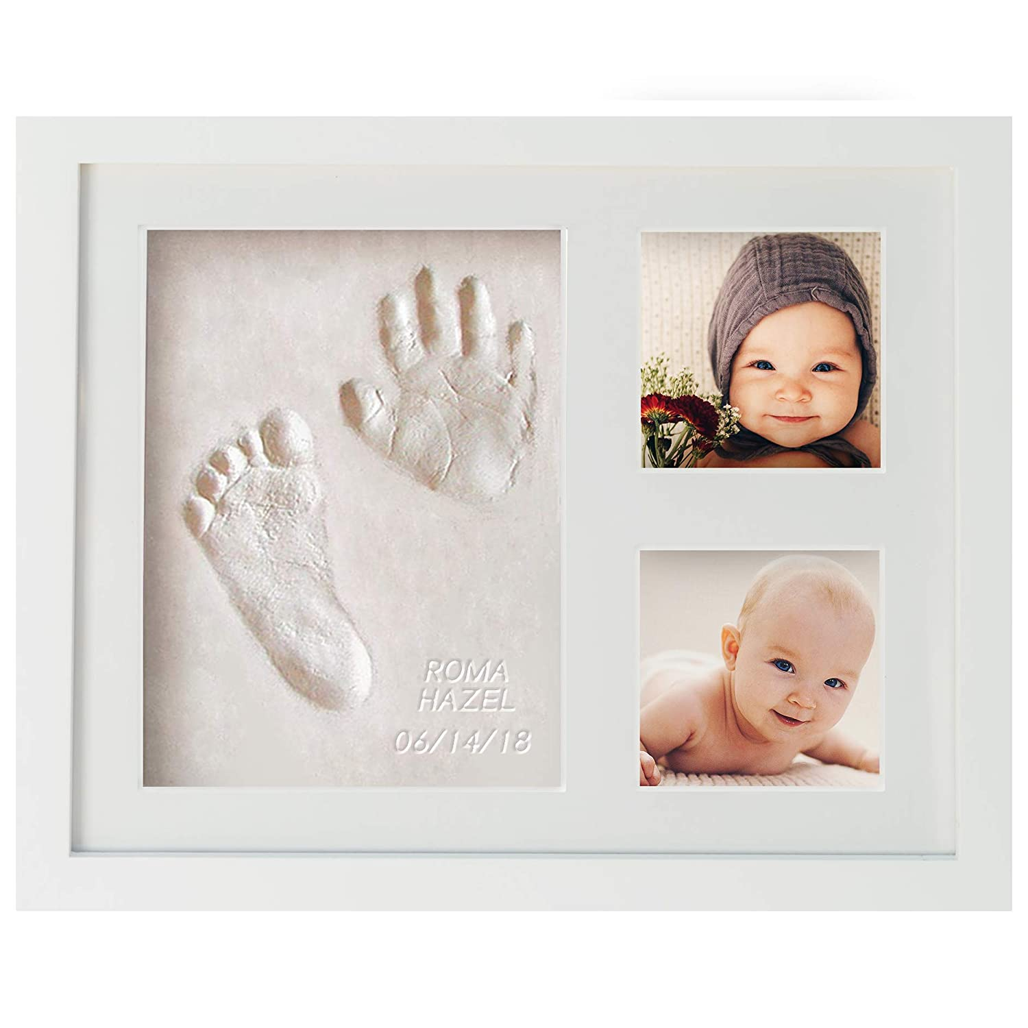 WavHello Baby Handprint & Footprint Frame Kit, Clay Casting & Photo Memory Keepsake Frame, Baby Registry Gift & Baby Shower Gift, Baby Boy Gift & Baby Girl Gift - No Mold - First Impressions