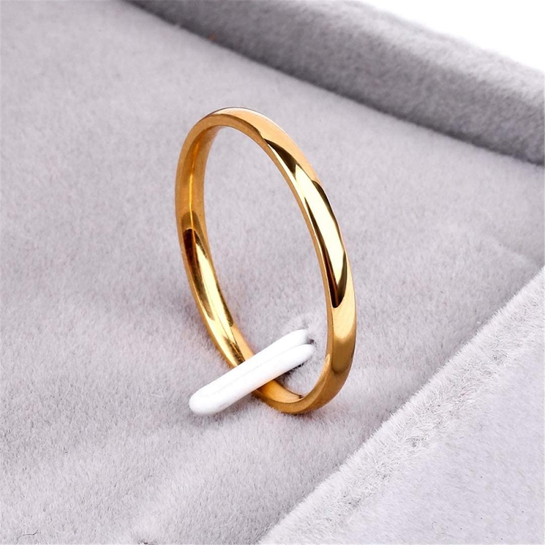 QuaQui Titanium Steel Rose Gold Anti-Allergy Smooth Simple Wedding Couples Rings for Man Woman Gift