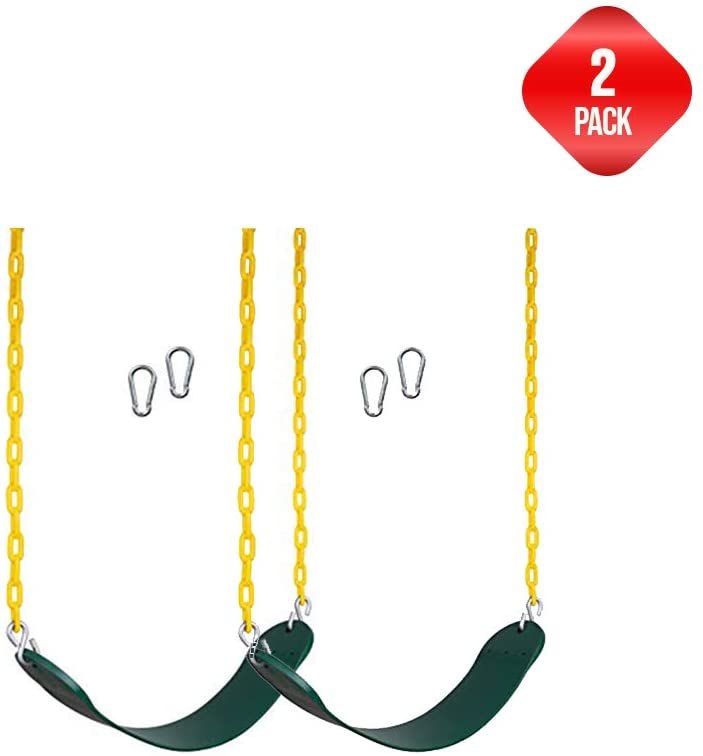 New Bounce Swing Seat - Swing Set Accessories for Outside, with Heavy Duty Rust-Proof Chain Coated in Thick Plastic for Safety and Comfort - Outdoor Swings for Kids and Adults