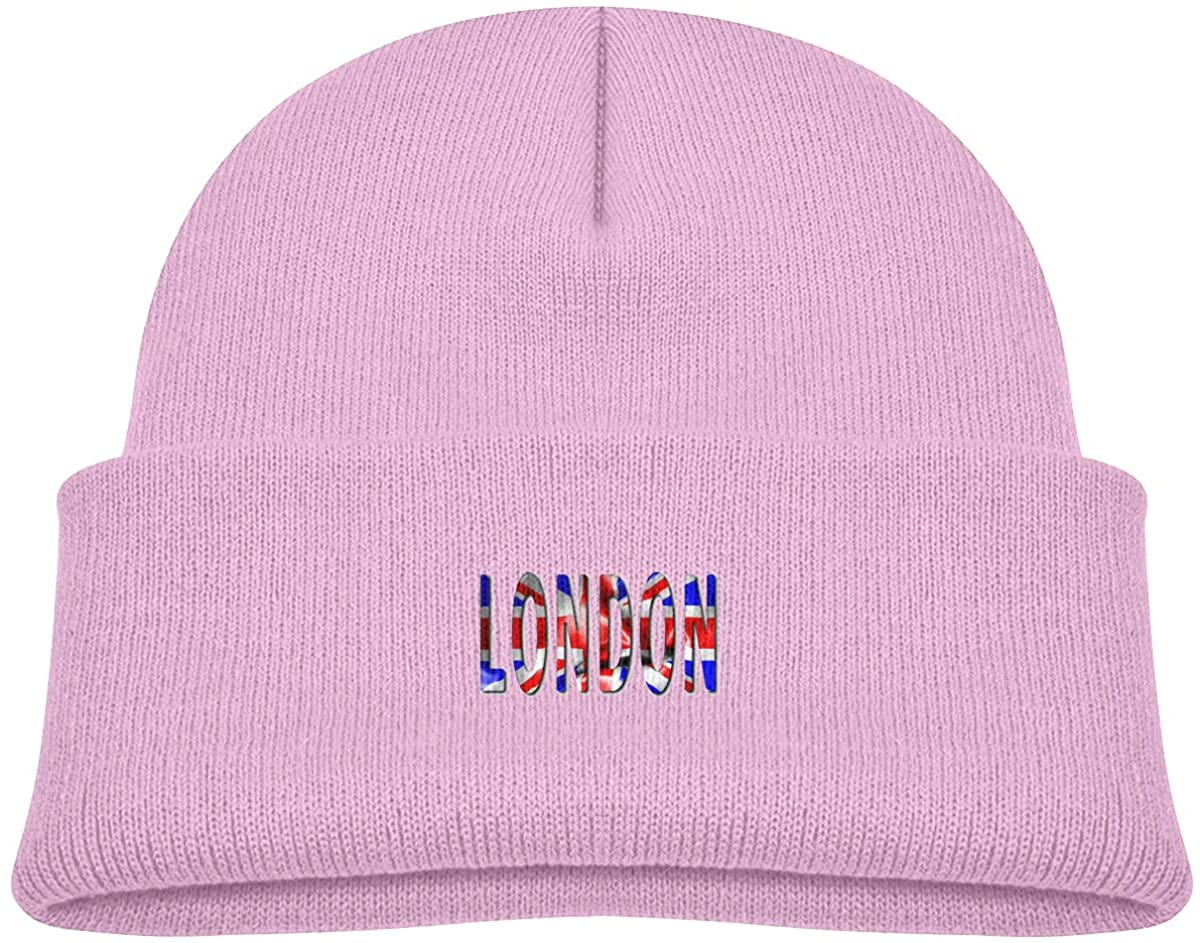 EASON-G Toddler's Beanie London Word with Flag Cuffed Knit Hat Skull Cap
