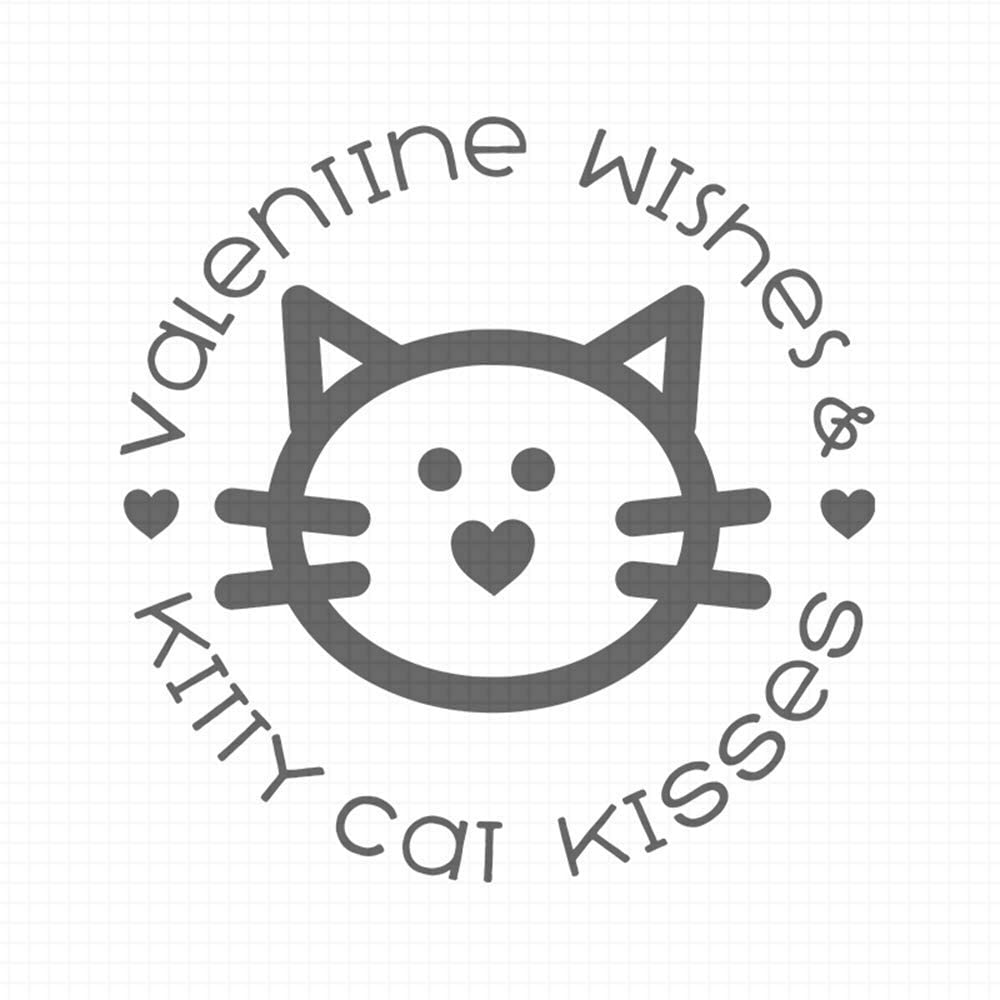 Valentine Wishes and Kitty cat Kisses, pre-Inked Rubber Stamp (#100820-30RD)