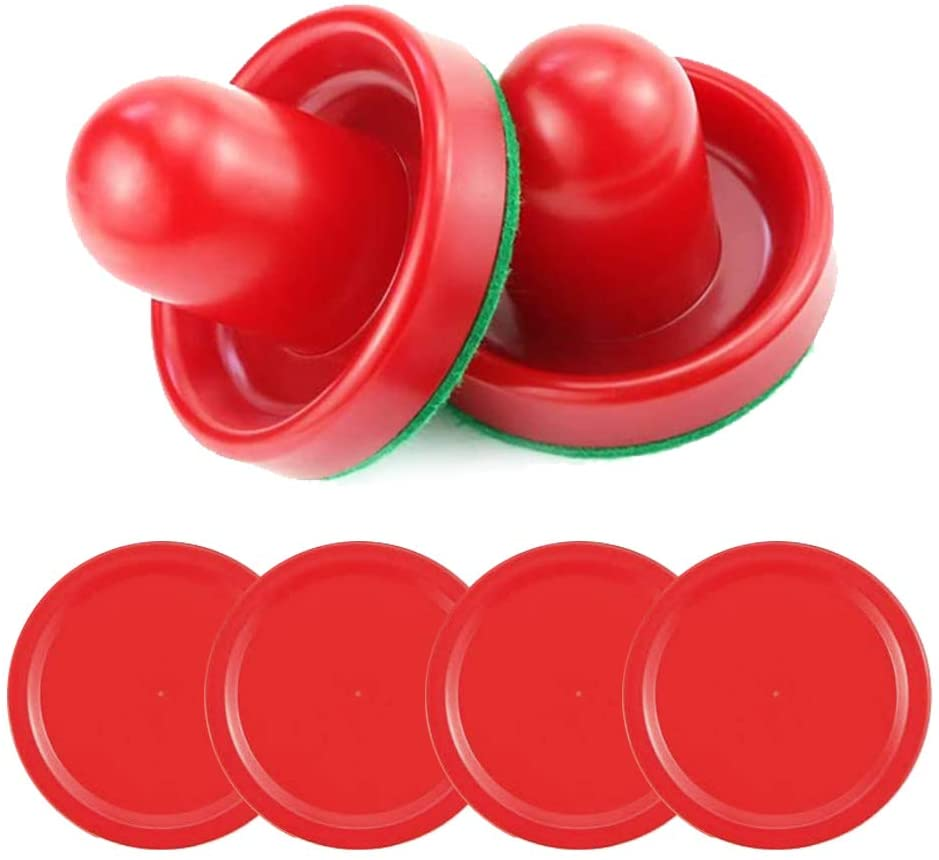 POLARHAWK Light Weight Air Hockey Pushers Red Replacement Pucks, Red Air Hockey Pucks Great Goal Handles Paddles Replacement Accessories for Game Tables (2 Strikers, 4 Pucks)
