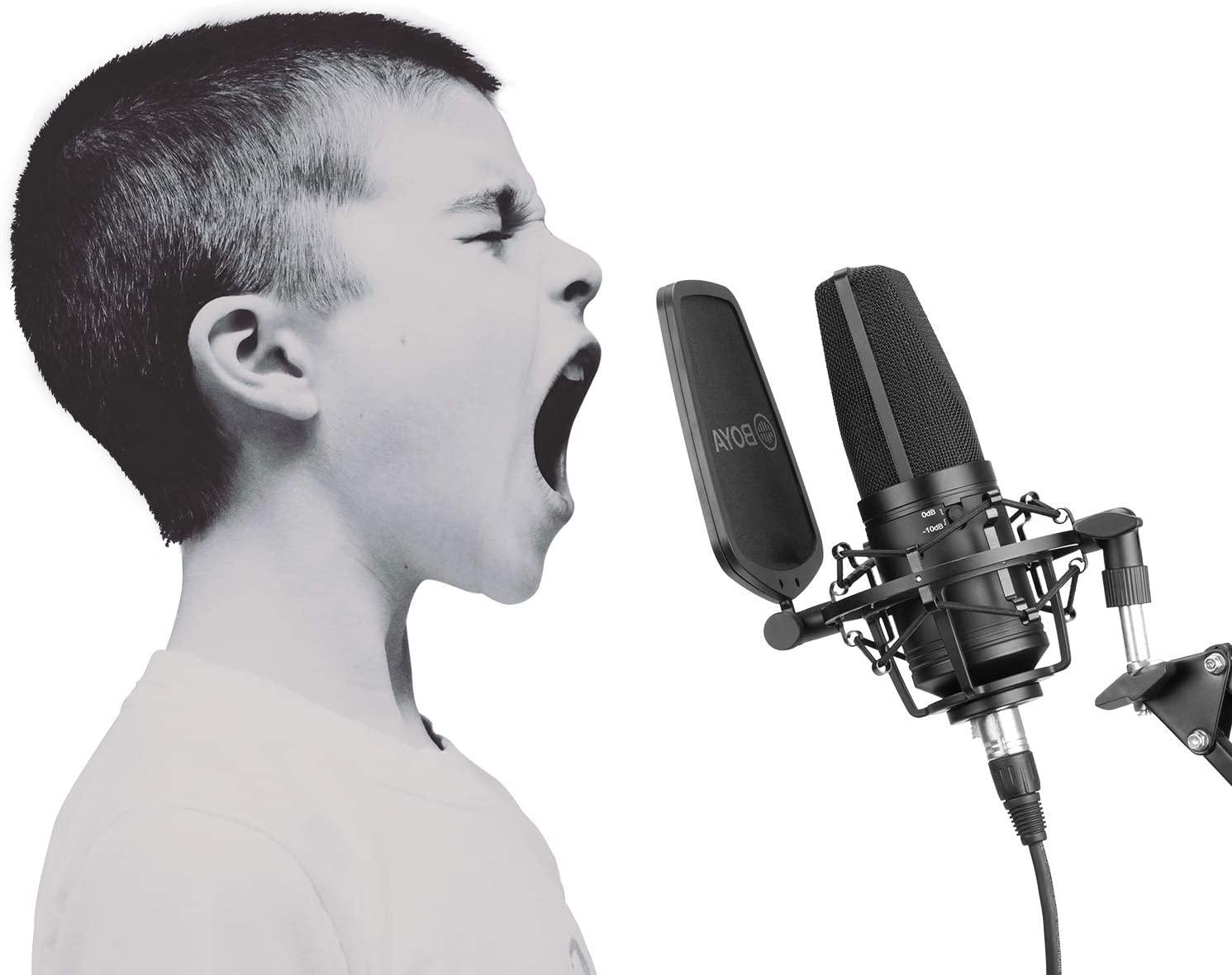 BOYA Large Diaphragm Studio Condenser Microphone 24V 48V Phantom Power Sturdy Housing for Vocal Recording Podcasting Broadcasting