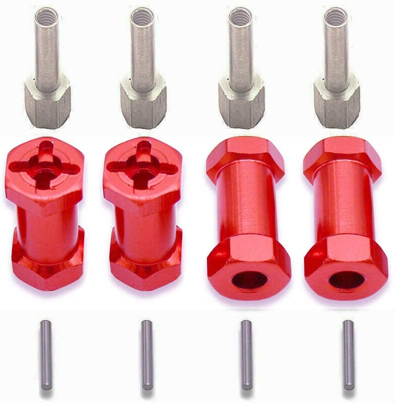 IFLYRC 12mm Wheel Hub Hex Drive Adaptor 25mm Offset Extension Combiner Coupler for 1/10 Traxxas Rustler RC Crawler SCX10 D90 (Red)