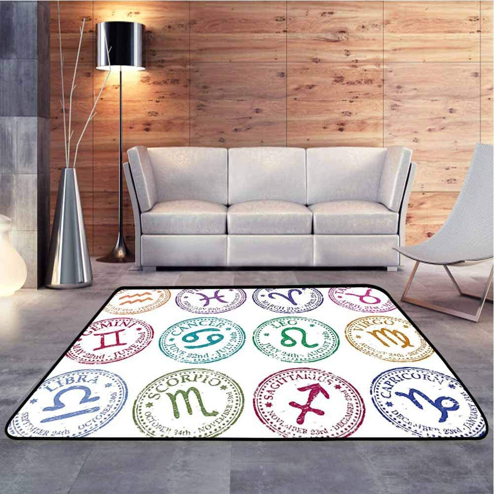 Traditional Area Rug Set of Stamp Style Inspired All Horoscope Signs with Distressed Effect Decor Baby Crawling Mat for Baby Nursery Decor, 4 x 6 Feet