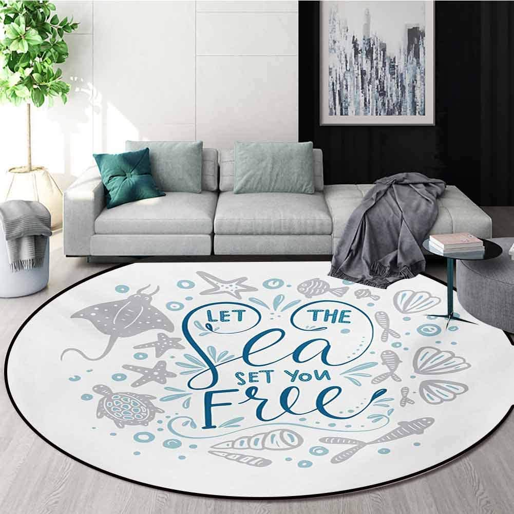 RUGSMAT Nautical Round Rugs for Bedroom,Let The Sea Set You Free Quote with Shellfish Turtle and Stingray Circle Rugs for Living Room,Round-31 Inch Pearl Navy Blue Pale Blue