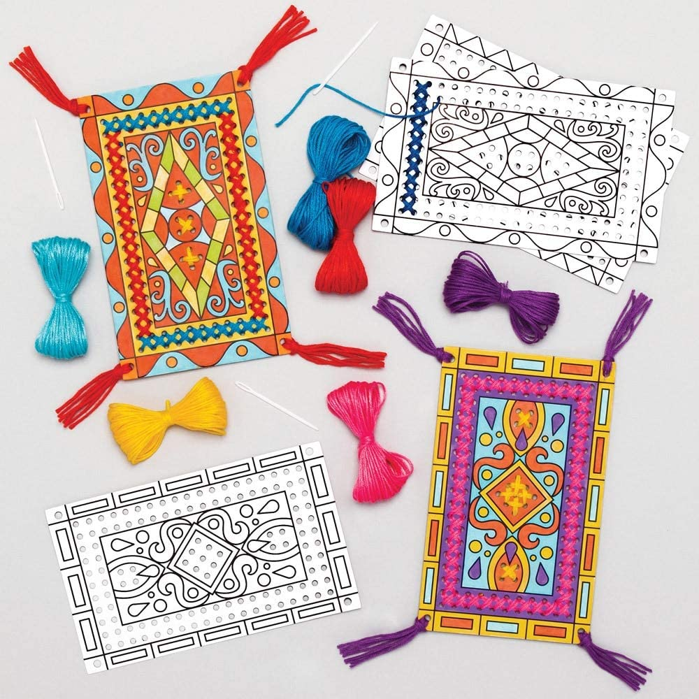 Baker Ross AT683 Magic Carpet Color in Cross Stitch Kits, for Kids Arts and Crafts Projects (Pack of 5), Assorted