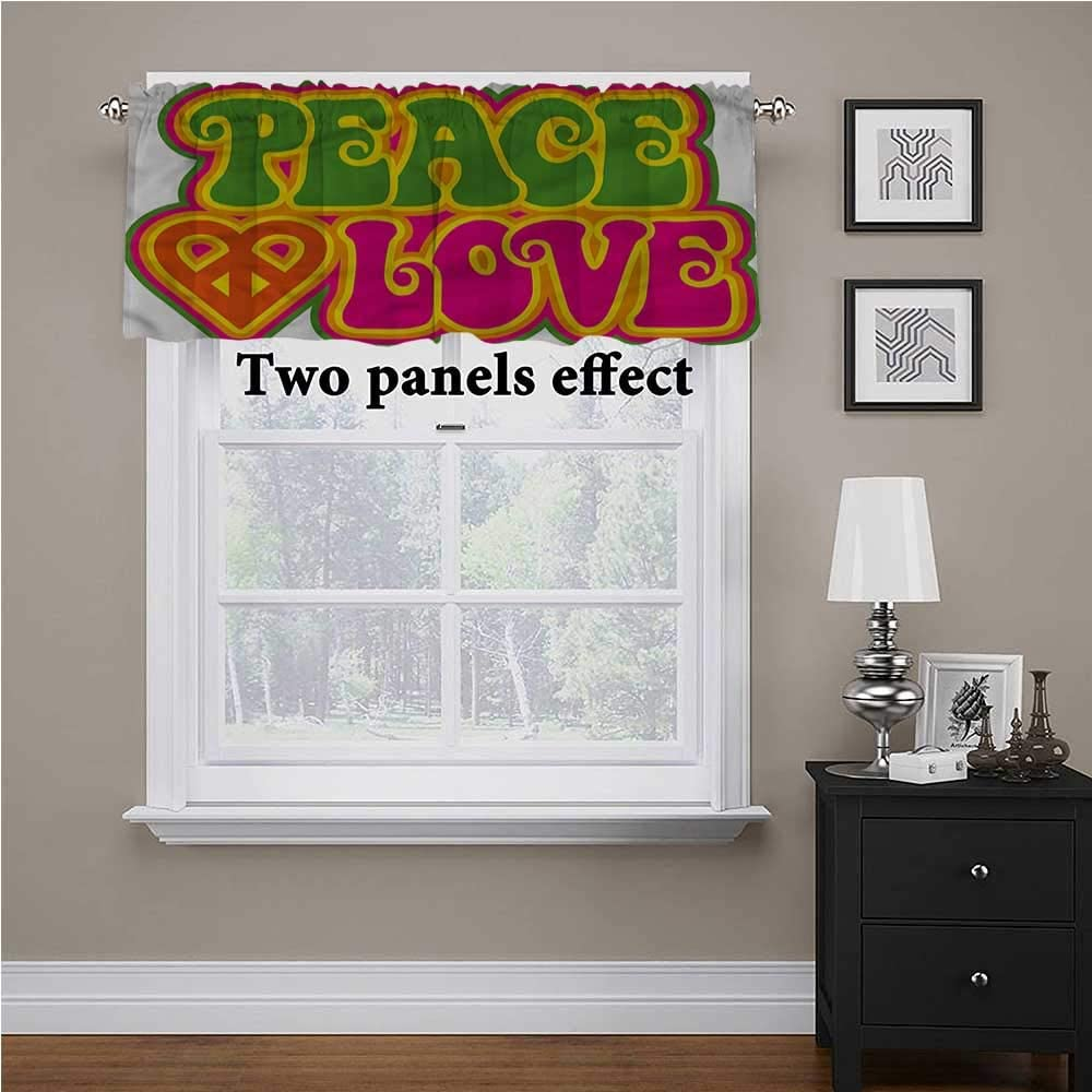 shirlyhome Groovy valances Window Treatments Peace Heart Symbol Sixties for Kids Room/Baby Nursery/Dormitory, 54 Inch by 12 Inch 1 Panel