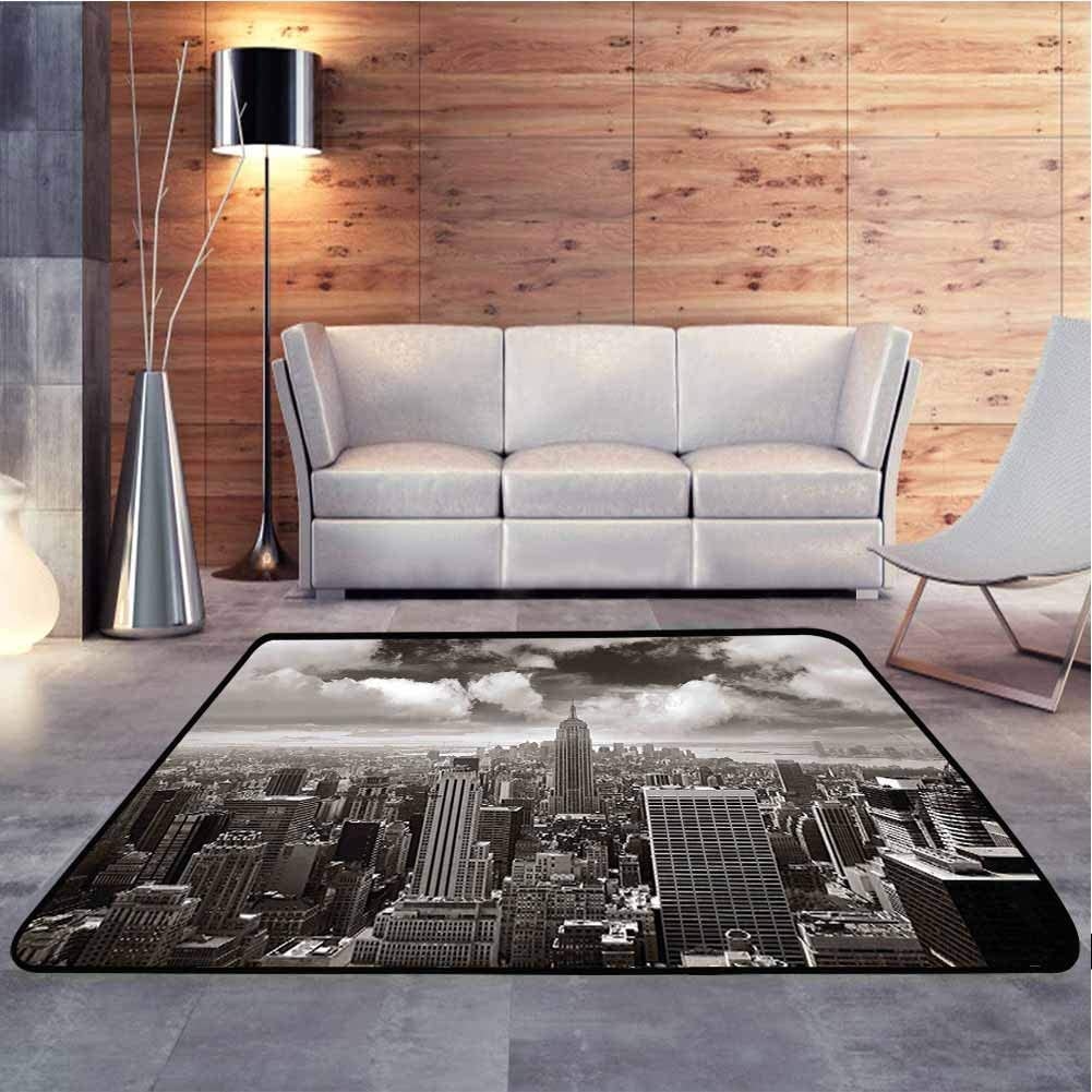 Bedside Carpet Urban Cityscape of Skyscrapers and The Cloudy Sky Digital Print Grey Baby Floor Playmats Crawling Mat for Living Room Kids Room, 6 x 9 Feet