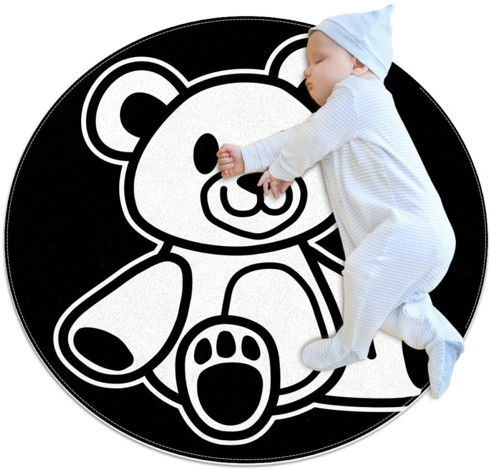 White Bear Doll Baby playmat Home Decorative Carpet Soft and Washable Pad Non-Slip for Kid's Toddler Infants Room 2feet 7.5inch
