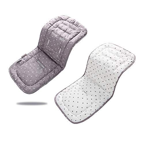 Baby Stroller Pad, Baby Stroller Seat Cushion Baby Chair Cushion Seat Pad Cotton Stroller Mattress Seat for Kid Outdoor Sports (Grey Cross) (Grey Cross)
