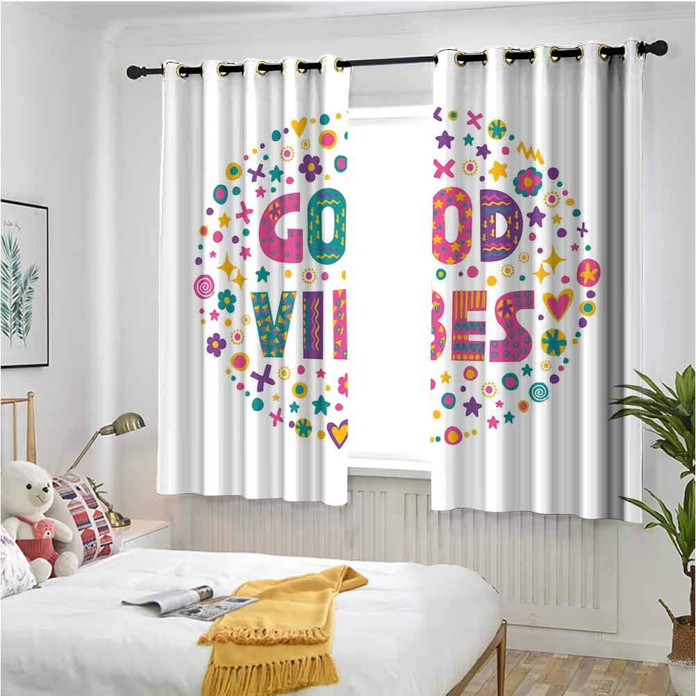 Good Vibes Grommet Curtains for Girls Room Word Art Theme Cute Doodle Cartoon Figures Positive Hippie Inspiring Cheerful 55 x 40 inch Short Drapes for Kitchen Bedroom