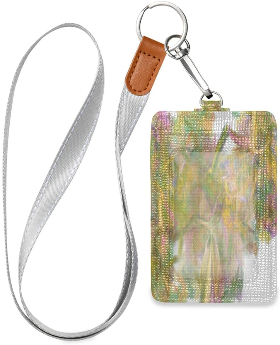 Id Badge Holder with Lanyard Fractal Abstraction Vector Leather Vertical Id Badge Card Holder with 1 Clear Id Window for Women Men Kids, 2 Credit Card Holder Slots and 1 Detachable Neck Lanyard