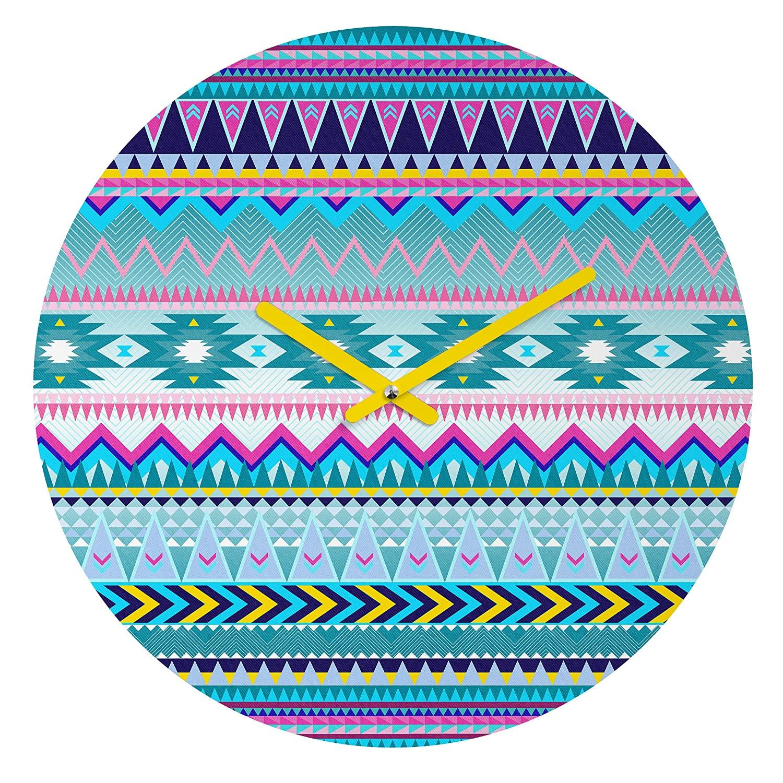 Deny Designs Iveta Abolina, Tribal Teal, Round Clock, Round, 12