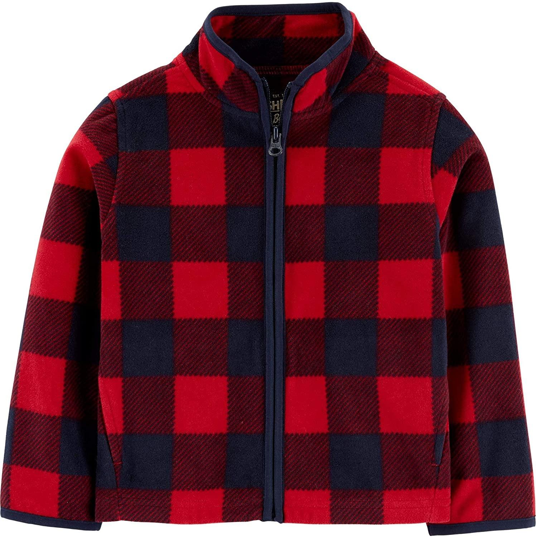 OshKosh B'Gosh Boys Full Zip Red Buffalo Check Fleece Pullover Cozie Jacket Size 6 Months