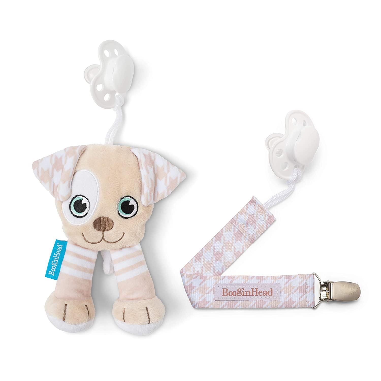 BooginHead Baby Newborn PaciPal PaciGrip Pacifier Clip Puppy, Brown/White (2 Piece Set)