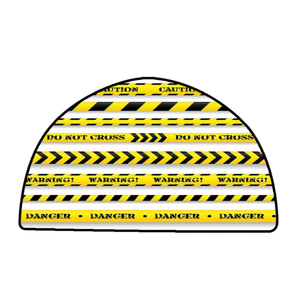 Washable Kitchen Area Rug Yellow,Cautionary Tapes Arrangement Danger Warning Expressing Banners Security Theme,Black Yellow,W24