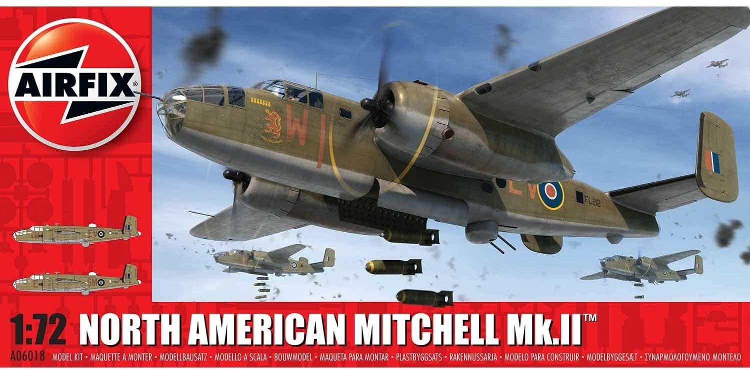 Airfix North American Mitchell MK II 1:72 WWII Military Aircraft Plastic Model Kit A06018