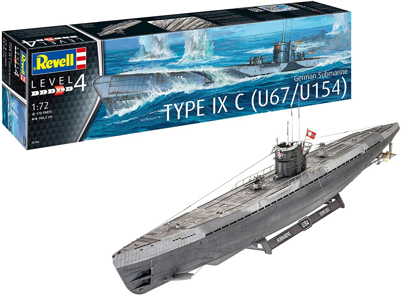 Revell RV05166 1:72 - German Submarine Type IX C U67/U154 Plastic Model kit