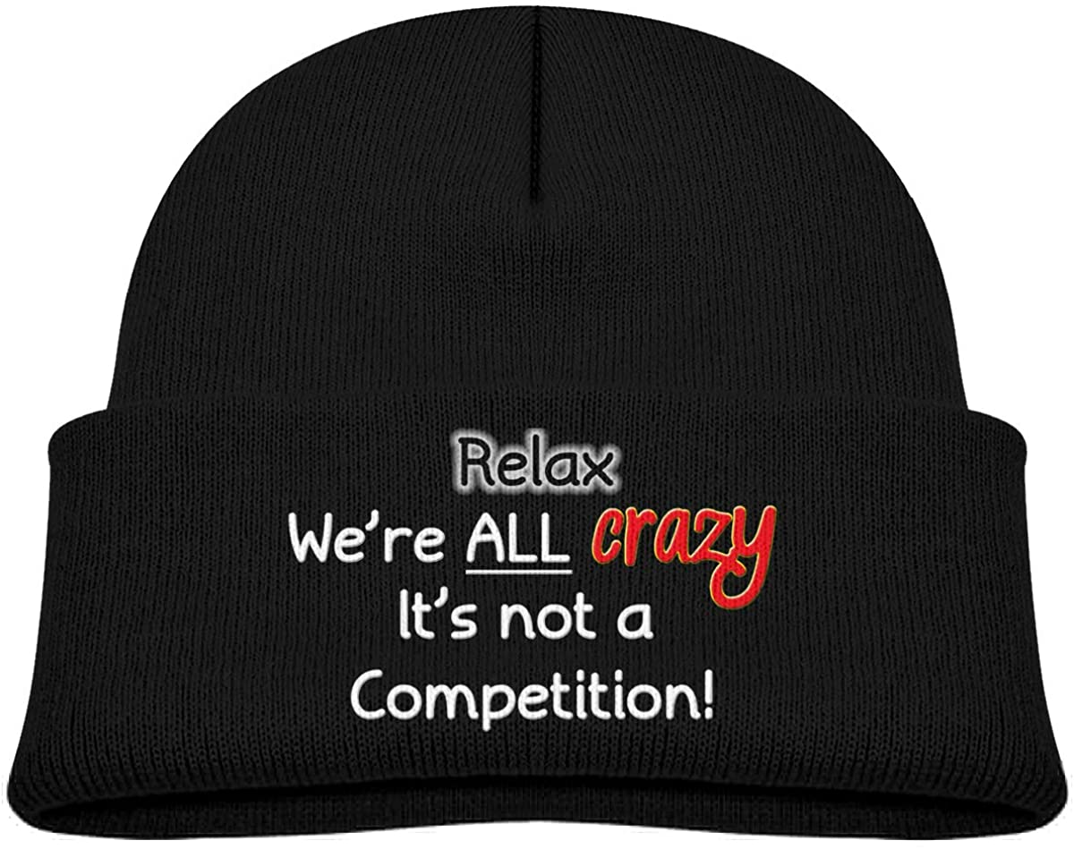 EASON-G Toddler's Beanie Funny Crazy Insane Quote Cuffed Knit Hat Skull Cap