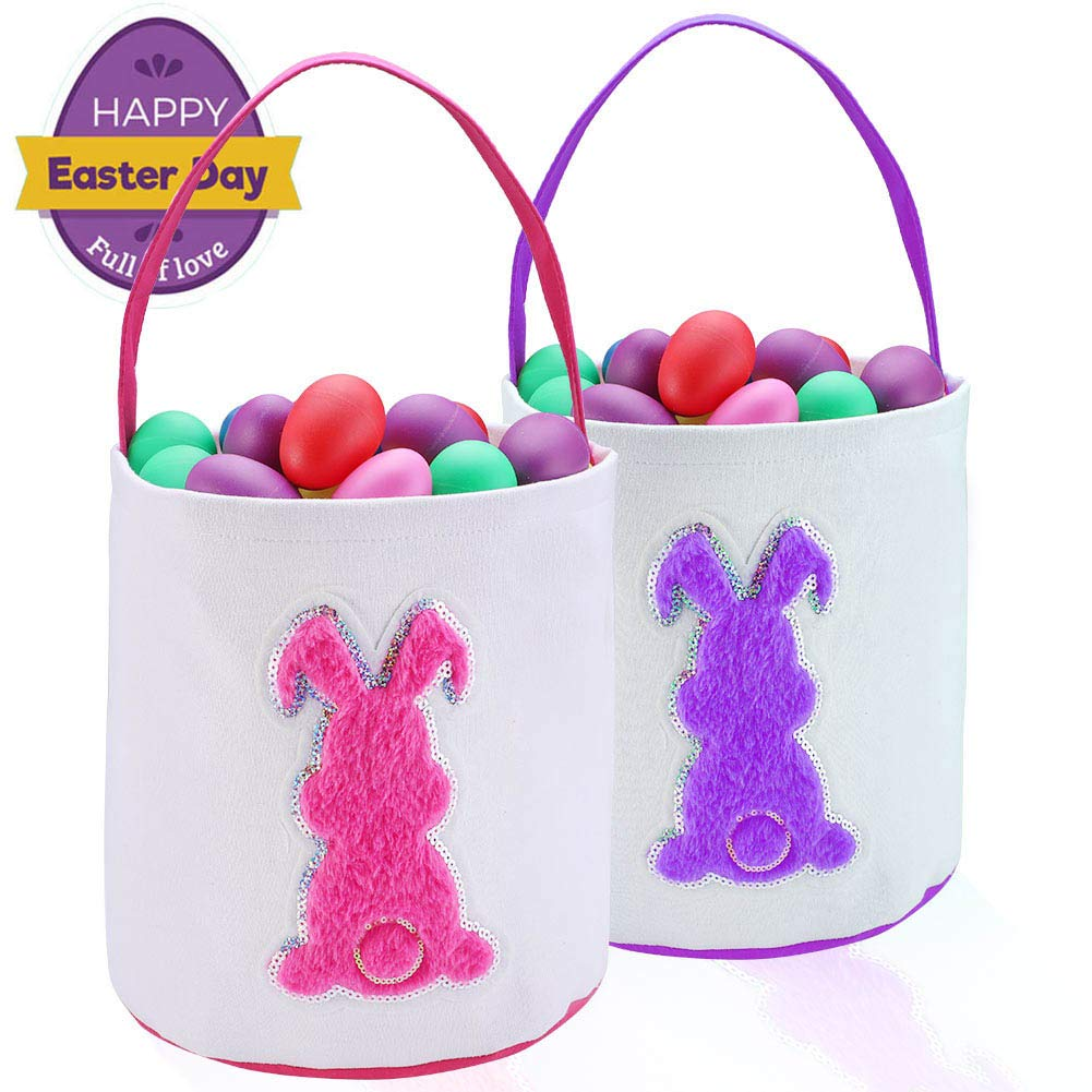 Easter Burlap Bag, Easter Bunny Basket, Canvas Tote Baskets for Kids to Carry Candy Gifts and Eggs
