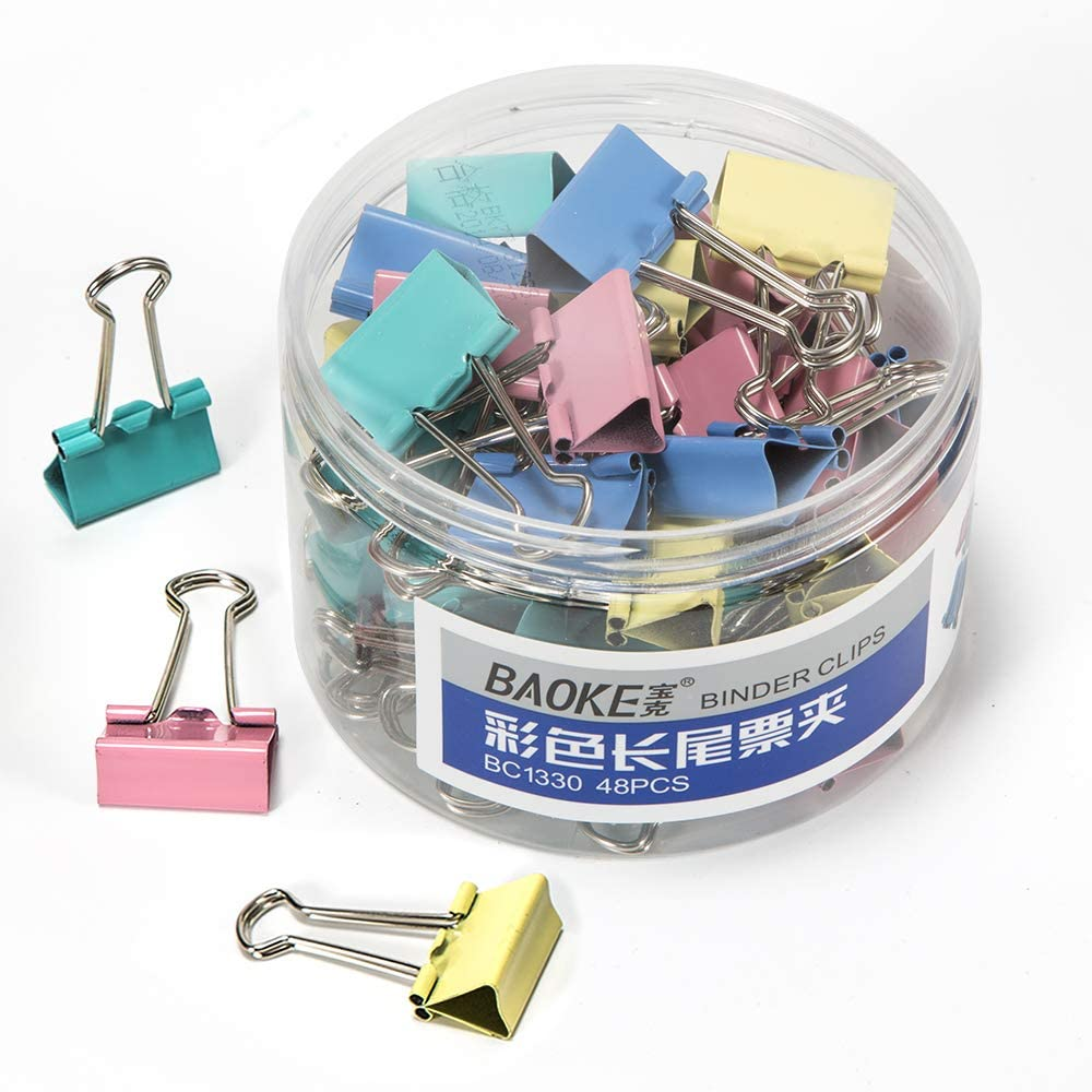 BAOKE Binder Clips, Paper Binder Clip, 1-Inch Wide with 2/5-Inch Capacity, 48pcs per Box, Assorted Colors, BC1330 (1-inch)