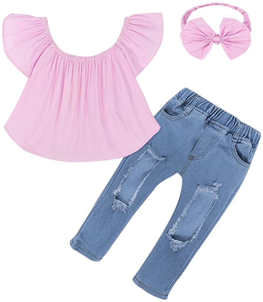 Tracfy Baby Girls Clothes Off Shoulder Crop Tops White Hole Denim Pants Jeans Headband Outfits Set
