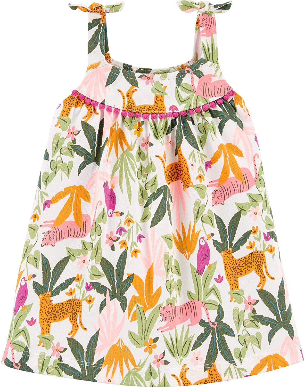 Carter's Baby Girl's 2-Piece Tiger Jungle Jersey Dress and Diaper Cover Set