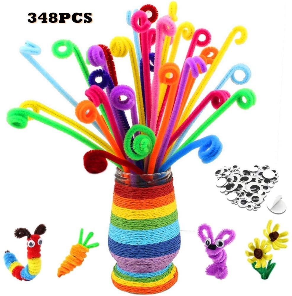 Cazkal 348PCS Pipe Cleaners Set[Bonus:60pcs Googly Eyes],24 Colors Valued Chenille Stems Craft Supplies with Wiggle Self Adhesive Googly Eyes,Ideal for DIY Art Craft Decoration