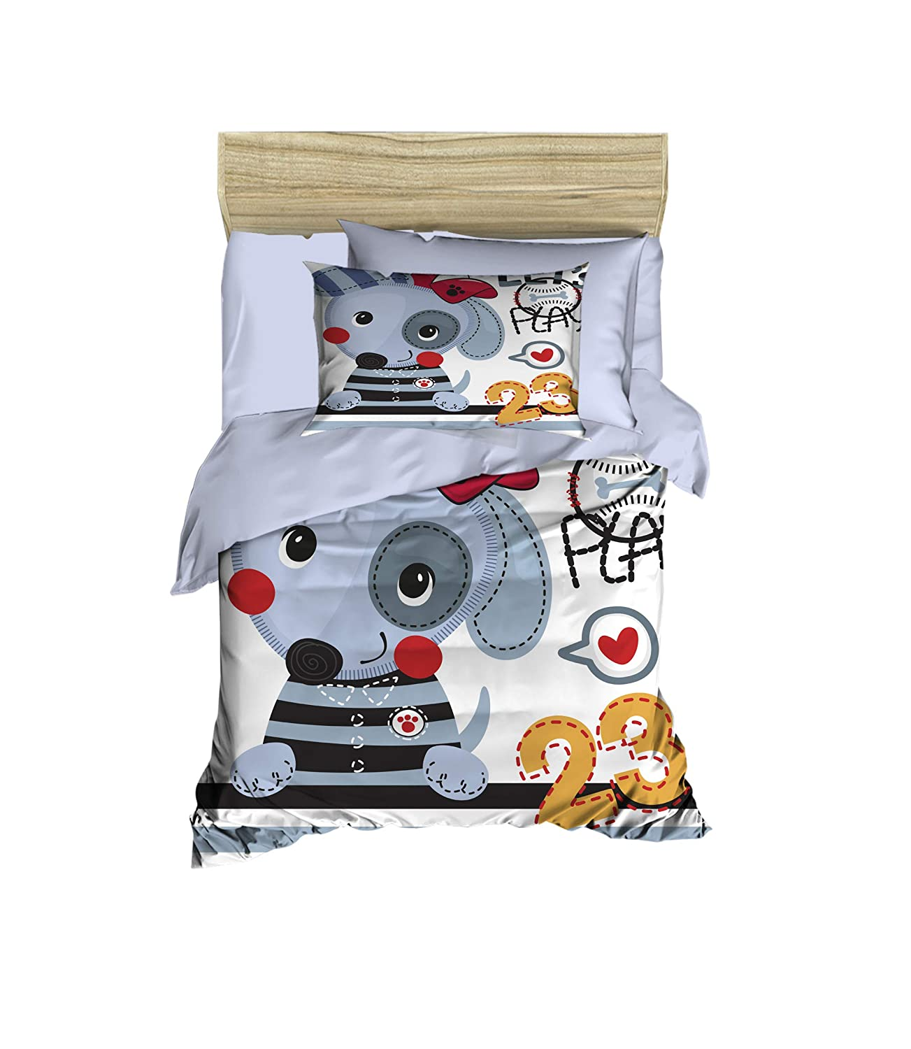 100% Cotton Cute Dog Baby Bedding Let's Play Dog Themed Nursery Baby Bed Set, Toddlers Crib Bedding for Baby Boys and Girls, Duvet Cover Set with Comforter, 5 Pieces