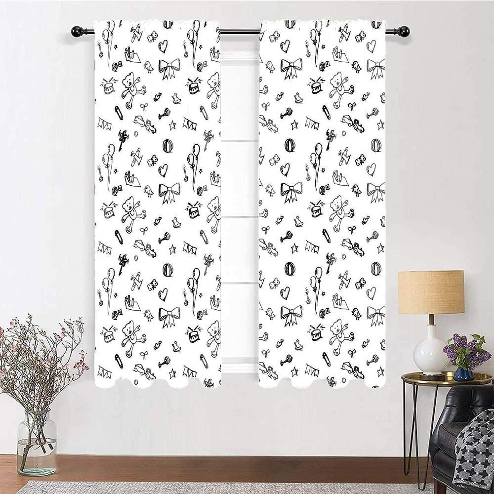 Curtains for Living Room Kids Thermal Insulated Light Blocking Drape Cute Baby Icons Doodle Style Various Toy Figures Newborn Toddler Scribble Collection 2 Panels 72 x 63 Black White