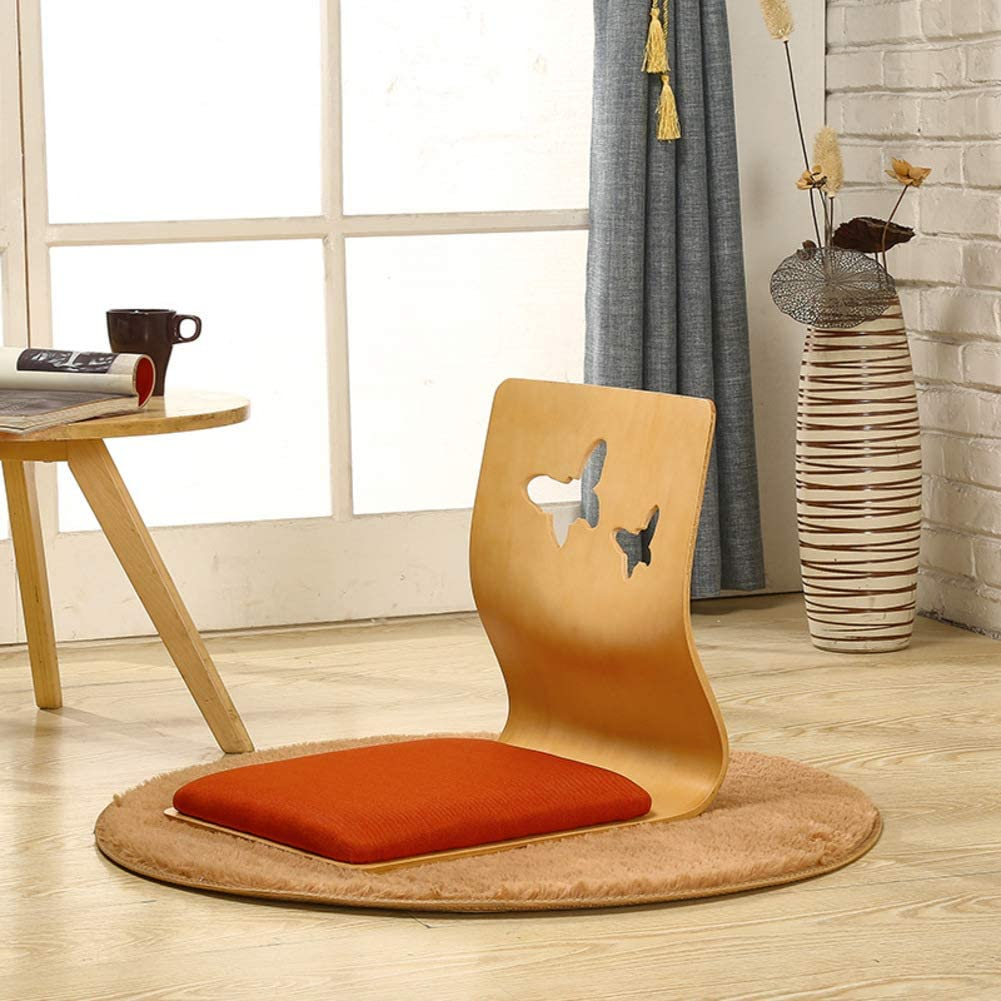 HOMRanger Solid Wood Japanese Floor Chair,with Back Support Ergonomics Legless Bay Window Lounge Chair Tatami Gaming Reading-b