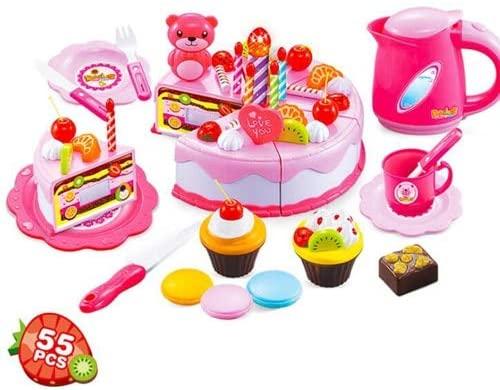 ShopMercimilo Kitchen Toys Pretend Play Cutting Birthday Cake Food Toy Kitchen for Children Cocina De Juguete Plastic Play Food Tea Set 55pcs Pink no Box