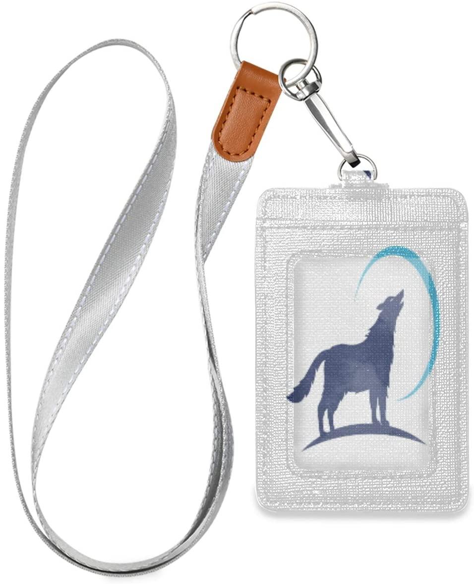 Badge Holders Animal Wolf Logo Blue Trendy Id Badge Holder Vertical, Badge Holder for Women Men, Badge Holder with Lanyard, Work Id Badge Holder, Leather Card Badge Holder for Office School Id