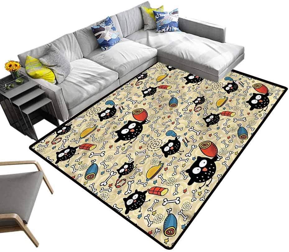 Doodle, Carpet Floor Mat Hungry Owls Eating Kids Carpet Extra Large for Kids Nursery, 4'x 4'