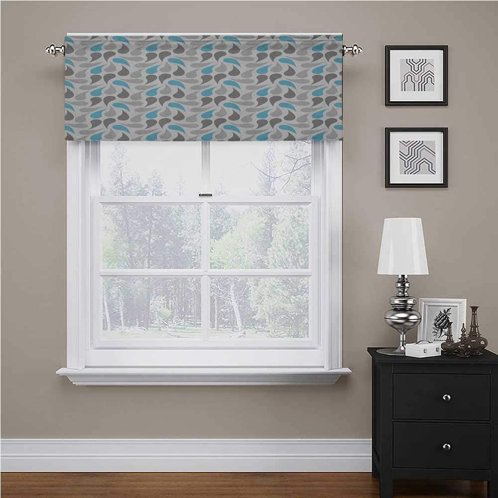 Adorise Window Valance Iran and Ottoman Motifs Pale Colors Vintage Ancestral Ornamental Pattern Window Kitchen Curtain Valance for Kids Girl Baby Nursery Bedroom Sky Blue Grey White 42 x 18 Inch