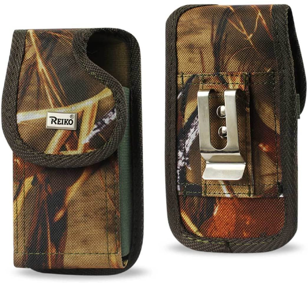 Heavy Duty Rugged Camo Hunting Vertical Case with Hook and Loop Closure and Metal Clip on The Back for Sonim XP8 Phone with a Cover on it.