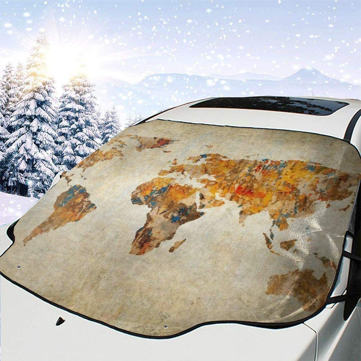 THONFIRE Car Front Window Windshield Ice Sunshade Antique Earth Map Cover Snow Proof Blocks UV Rays Keeps Your Vehicle Cool Visor Protector Automotive Spring Heatshield