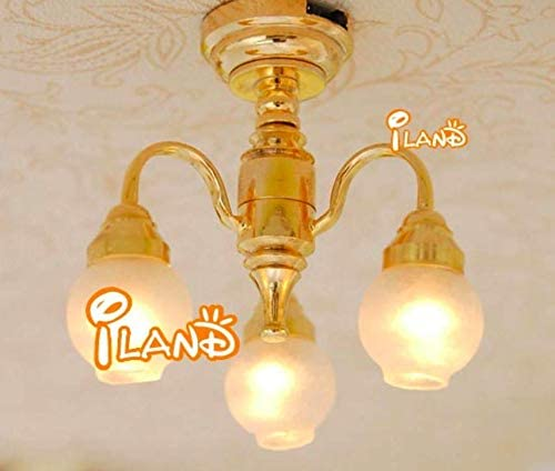 1:12 Scale Dollhouse Miniature Bedroom Living Room Chandelier LED Light Ceiling Light; High 3.5CM