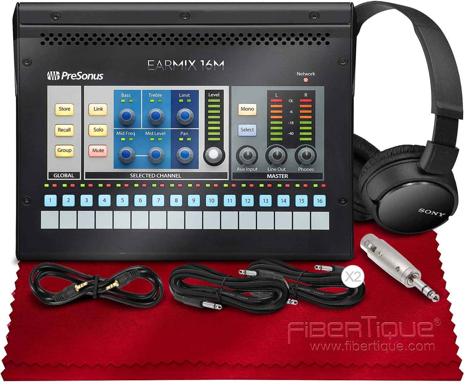 PreSonus EarMix 16M 16x2 AVB-Networked Personal Monitor Mixer with Monitoring Headphones and Assorted Cables Deluxe Bundle