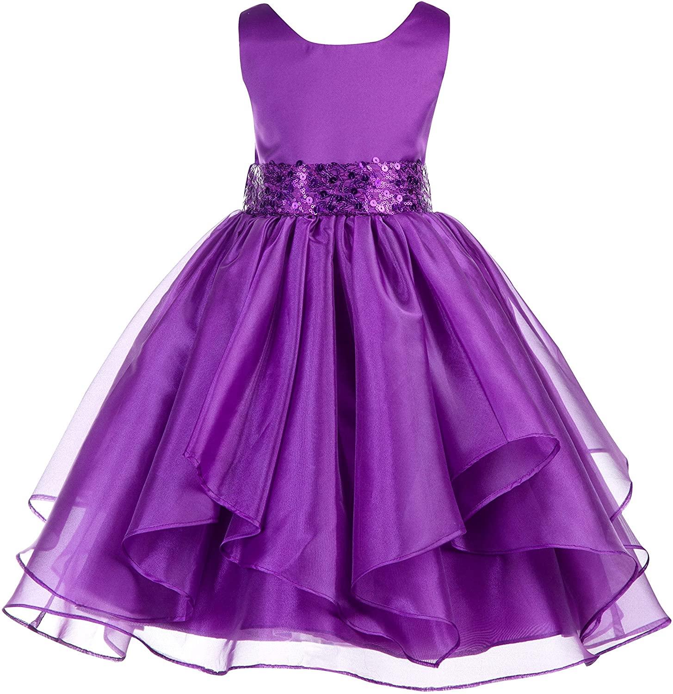 ekidsbridal Asymmetric Ruffled Organza Sequin Flower Girl Dress Christening Dresses 012S 2 Purple