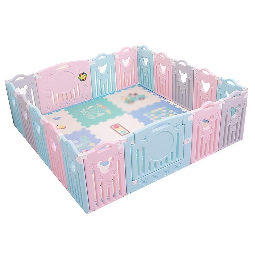 Playard Baby Playpen Toddler Fence Colorful Panels, Girls Boys Children Crawling for Playroom Nursery Indoor Outdoor (Size : 20 Panels - 178x214cm)