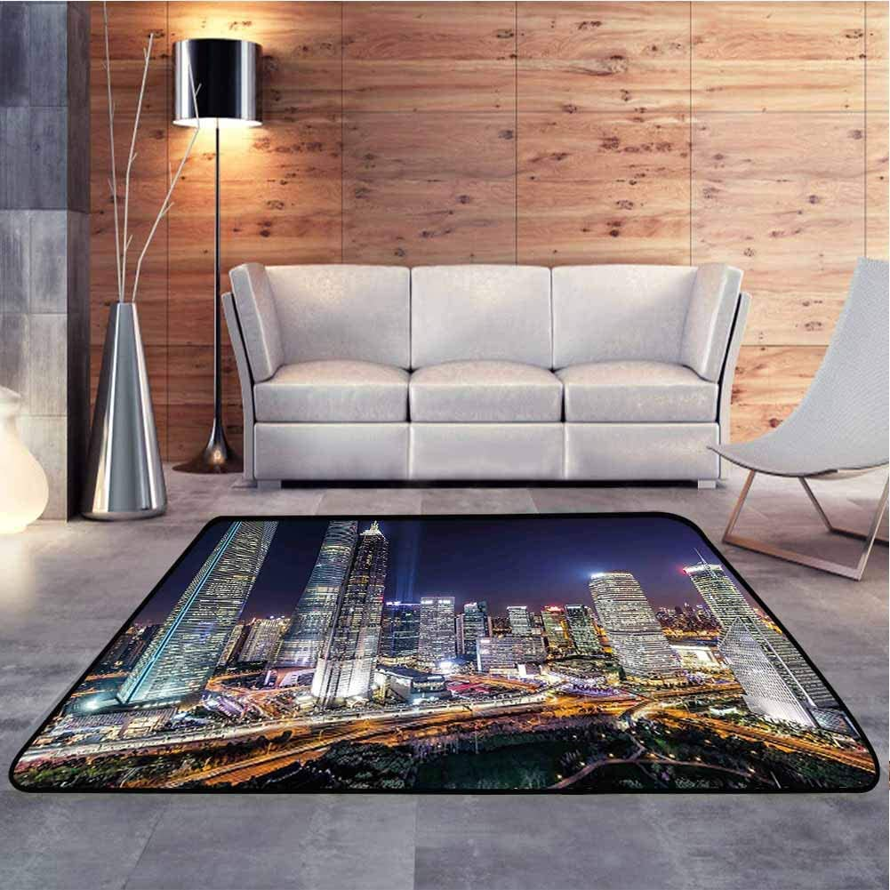 Nursery Rug Illuminated Skyscrapers in Modern City at Night Architectural Cityscape Photo Baby Floor Playmats Crawling Mat Provides Protection and Cushion for Floors, 5 x 8 Feet