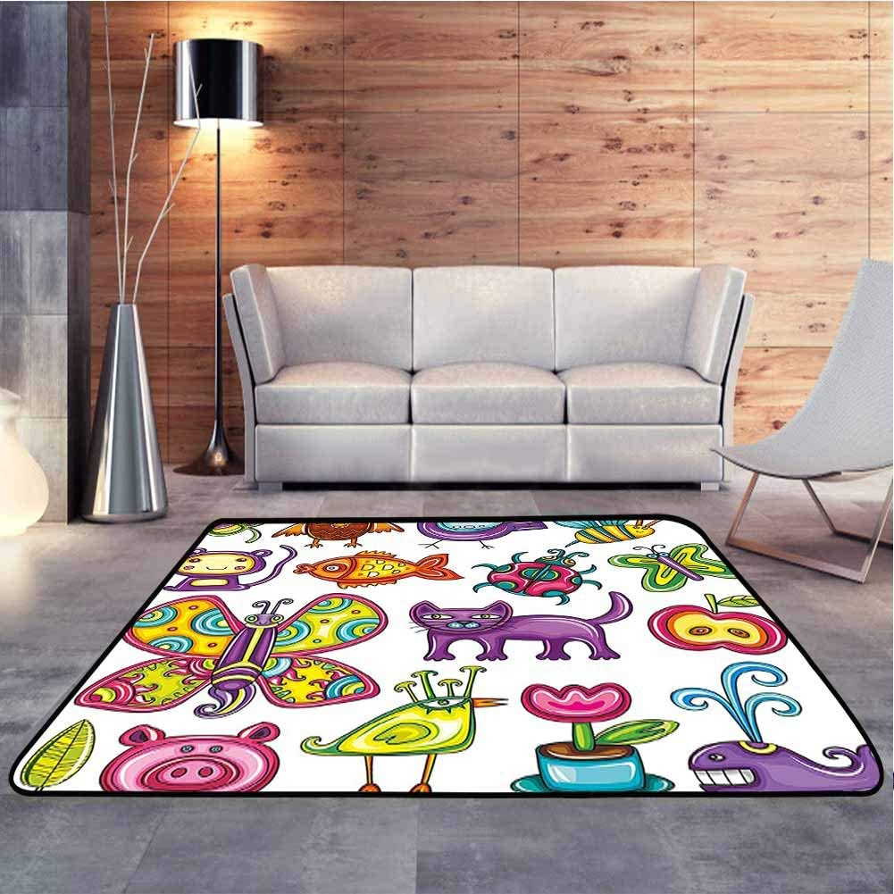 Living Room Carpets Cartoon Drawing Image of Animals Cat Whale and Fruits for Nursery Room Artwork Baby Floor Playmats Crawling Mat for Floors, Bed and Living Room, 6 x 9 Feet
