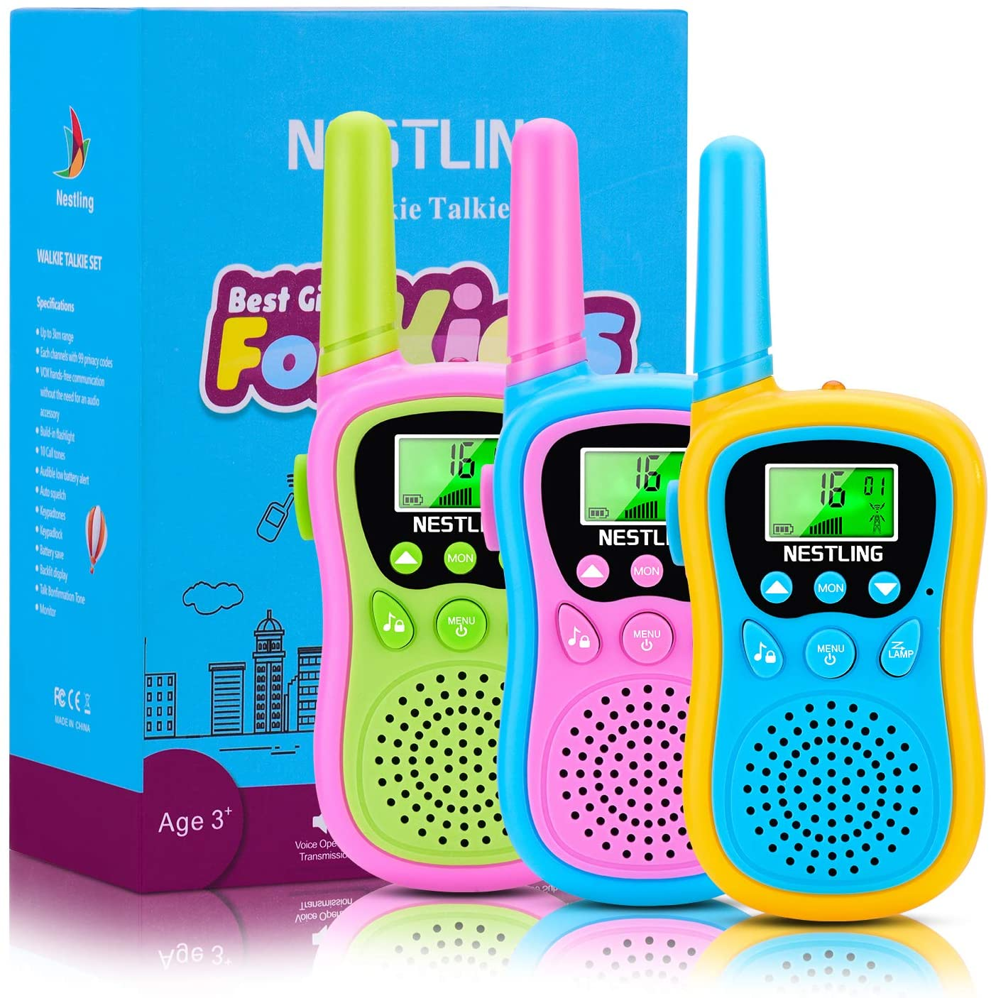 Nestling 3 Pack Walkie Talkies for Kids, 22 Channels 2 Way Radio Toy with Backlit LCD Flashlight, 3 Miles Range for 3-12 Year Old Boys Girls Outside, Camping, Hiking