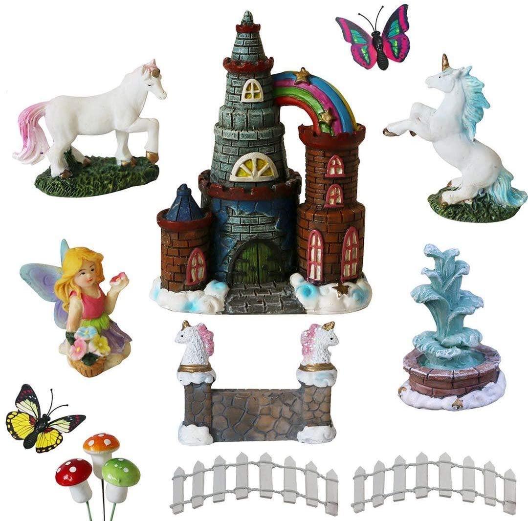 BangBangDa Unicorn Figurines Fairy Garden Accessories - Miniature Unicorn Gift Set Outdoor Garden Decoration – Fairy Figurines Castle Fountain Girl Birthday Gifts (Set of 12)